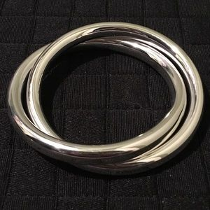 Jewelry - Stunning sterling silver extra wide 2 hoop bangle